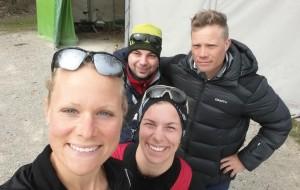 Jag, Aram, Britta och Petter före träning